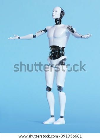 A male robot with his arms outstretched in a welcoming pose, image 2. Blue background. - stock photo