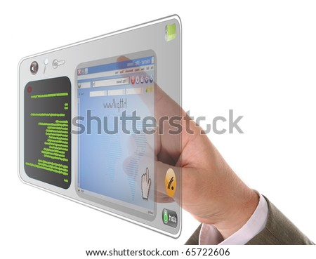 A male's finger is searching and pointing at an internet website - stock photo