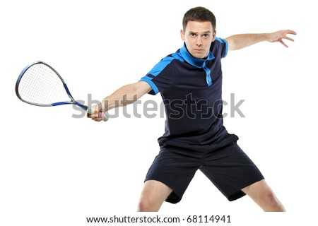 A male squash player playing isolated against white background