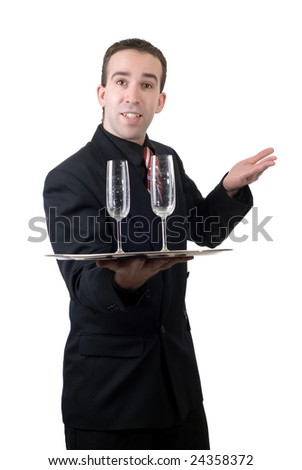 A male waiter holding a silver tray with two empty wine glasses, isolated against a white background - stock photo