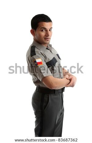 A male worker in uniform - stock photo