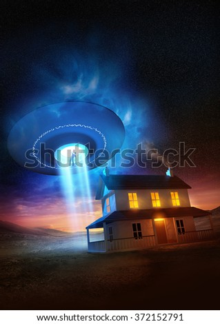 A man abducted near his isolated home by a UFO. 3D illustration. - stock photo