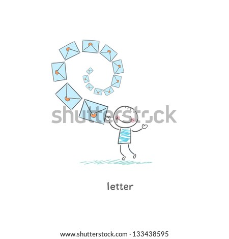 A man and a letter. Illustration. - stock photo