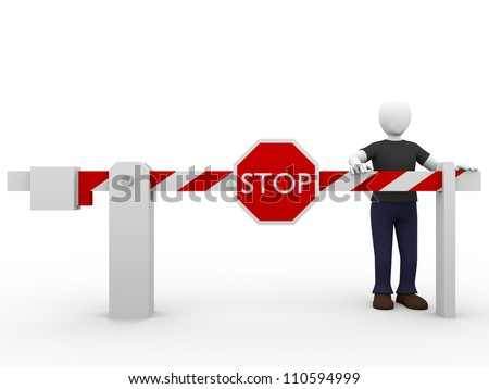 A man and a stop barrier. Security and safety concept