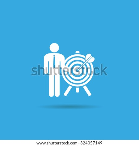 a man and a target icon. achieving the goal. search employees - stock photo