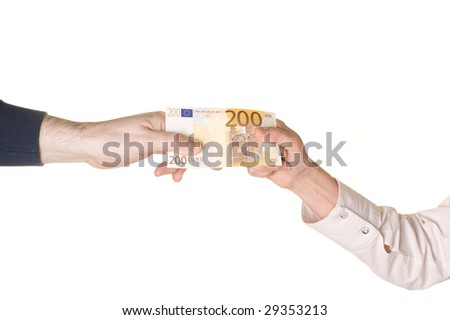 A man and a woman are fighting over 200 EUROS. Pulling in each direction. White background. - stock photo