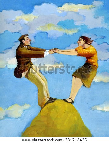 a man and a woman is able to stand on top of a mountain only if they collaborate - stock photo