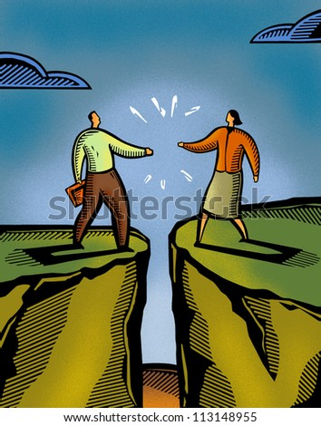 A man and a woman meeting over a crevasse - stock photo
