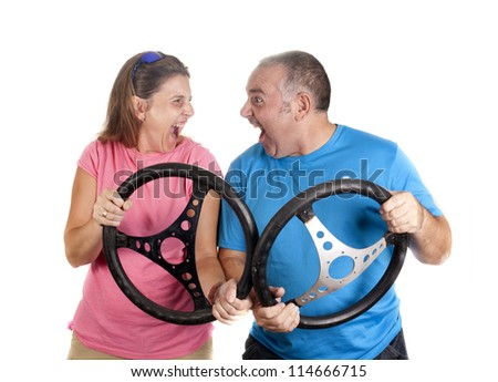a man and a woman, simulating a traffic accident - stock photo