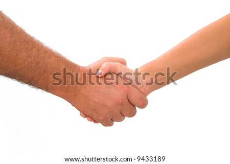 a man and woman shaking hands on an isolated white background