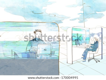 A man and woman sitting at desks in their cubicles. - stock photo