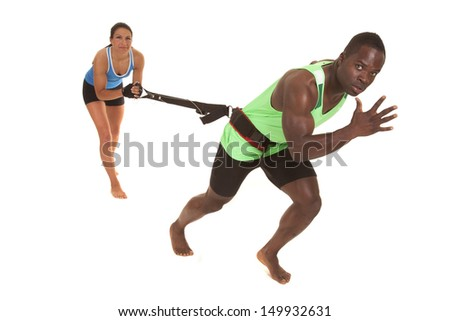 A man and woman training to stay physically active and healthy - stock photo