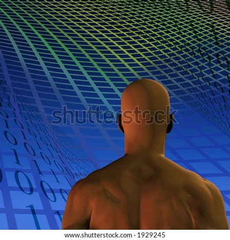 A man, binary code and grid