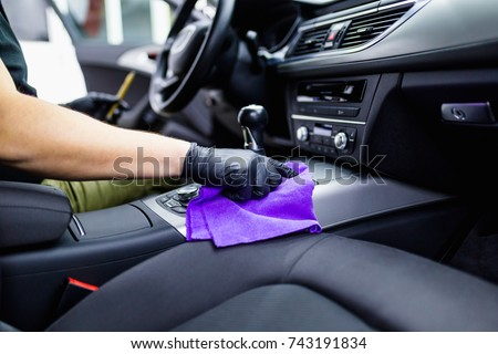 Man Cleaning Car Interior Car Detailing Stock Photo 743191834 ...