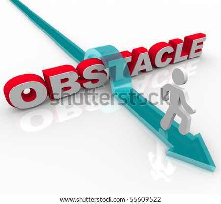 A man conquers an obstacle by jumping over the word - stock photo