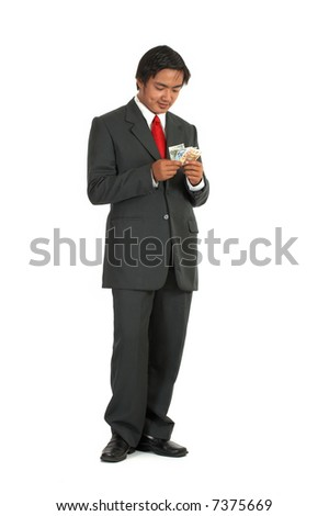 a man counting his money over a white background - stock photo