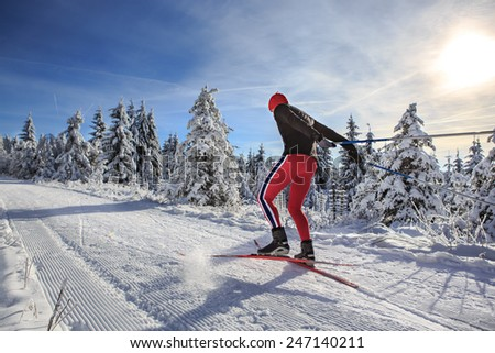 A man cross-country skiing on the forest trail - stock photo