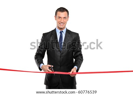 A man cutting a red ribbon, opening ceremony, isolated on white background - stock photo
