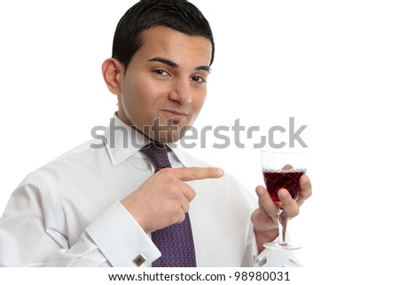A man discussing, showing or presenting a wine.  White background. - stock photo