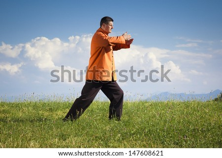 A man doing Qi-Gong in the green nature