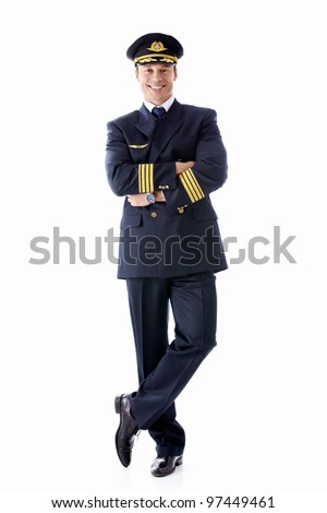 A man dressed as a pilot on a white background - stock photo
