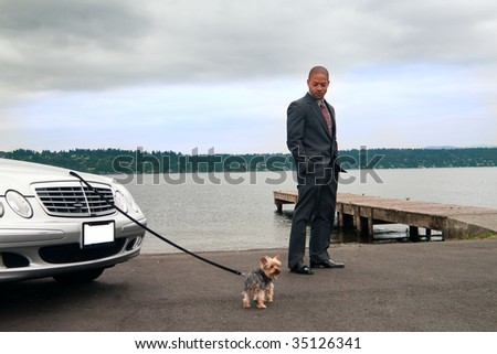 A man enjoys the lake shore and cool breeze with his Yorkshire terrier. - stock photo