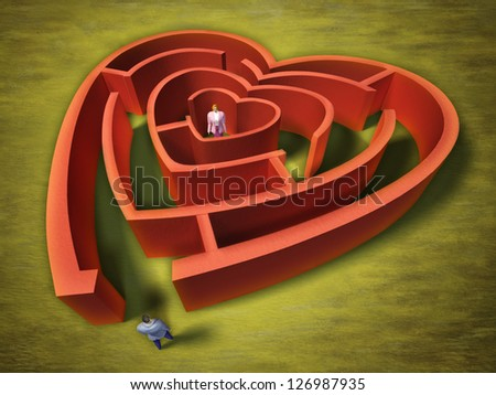 A man entering an heart shaped labyrinth. Digital illustration. - stock photo