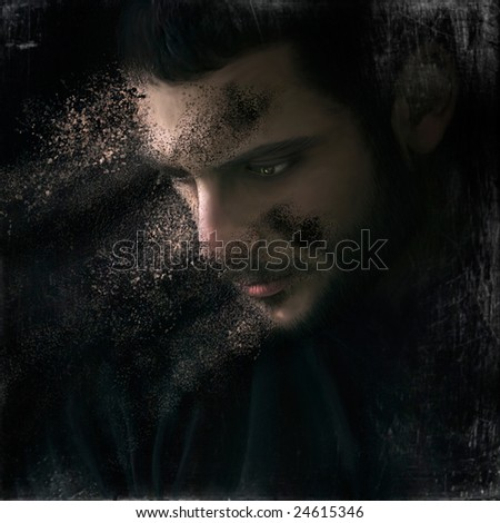 A man falling to pieces. The concept of sorrow and sadness - stock photo
