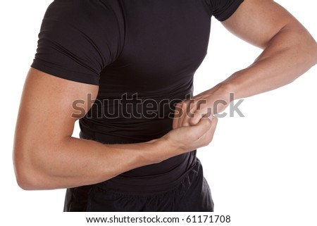 A man flexing his upper body. - stock photo