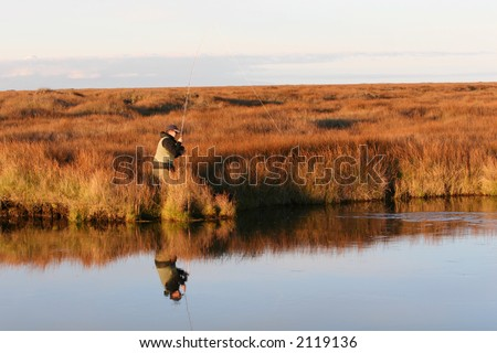 A man flyfishing, fish just took the bait - stock photo