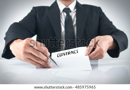 A man giving  a contract