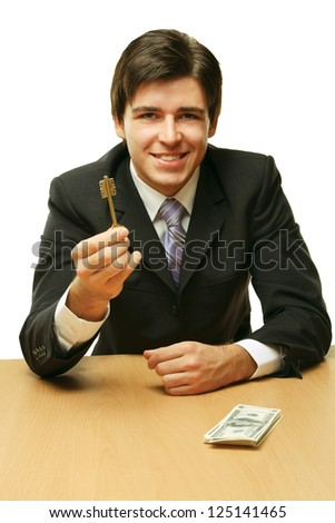 A man giving a keay, isolated on white - stock photo
