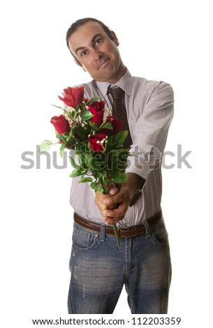 a man giving flowers to your partner