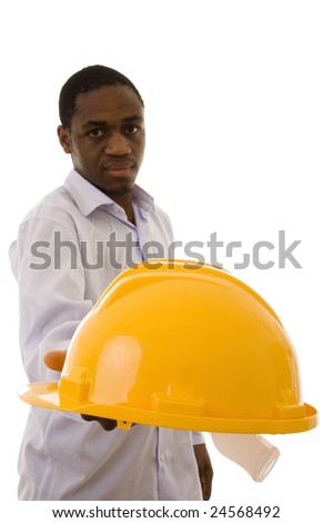 A man giving you a yellow helmet to protect your head - stock photo