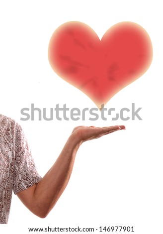 A man giving you my heart that is a concept love and romance - stock photo