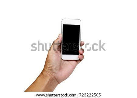 a man hand holding white mobile phone on white background isolated