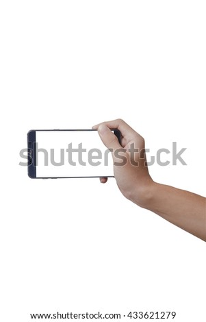 A man hold mobile phone on isolate white background.