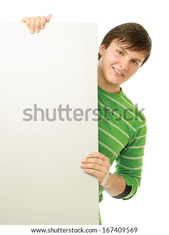 a man holding a blank, isolated on white background - stock photo