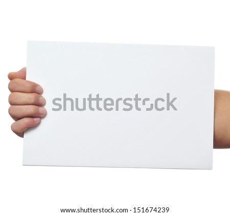 a man holding a blank signboard with a copy-space with is hand - stock photo