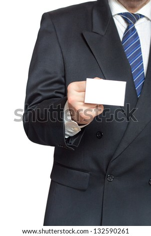 A man holding a business card in his hand isolated on white background vertical - stock photo