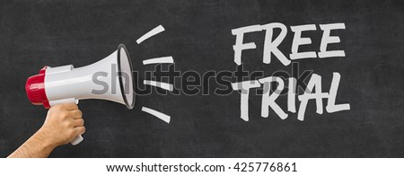 A man holding a megaphone - Free trial - stock photo
