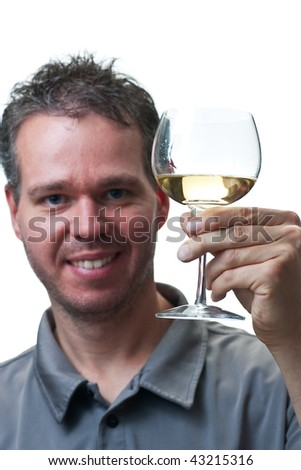 A man holding a wine glass up, making a toast, focus on the wine glass, isolated on white.