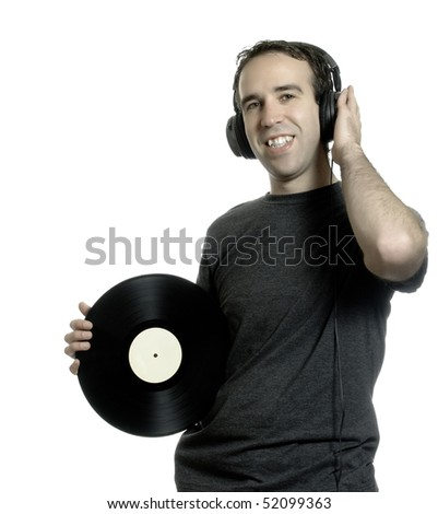 A man holding an old lp record and listening to music, isolated against a white background.
