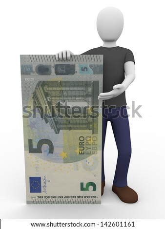 A man holding and presenting a new five euros bill - stock photo