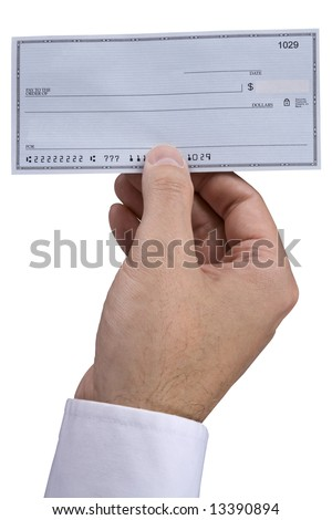 A man holding holding a blank check. - stock photo
