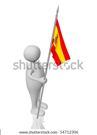 A man holding in the hand  a spanish flag