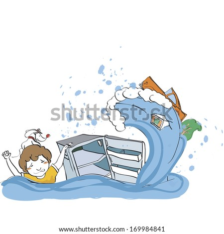 A man holding on to an empty refrigerator while a wave moves towards him. - stock photo