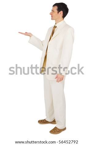 A man holding something in his hand, isolated on a white background - stock photo