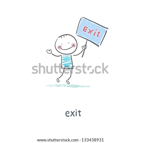 A man holds a sign. Illustration. - stock photo