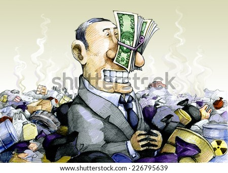 a man immersed in the trash, plugging his nose with money - stock photo